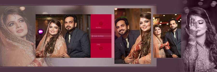 Traditional Effect-Able Wedding Photo Album Design Psd Sheets